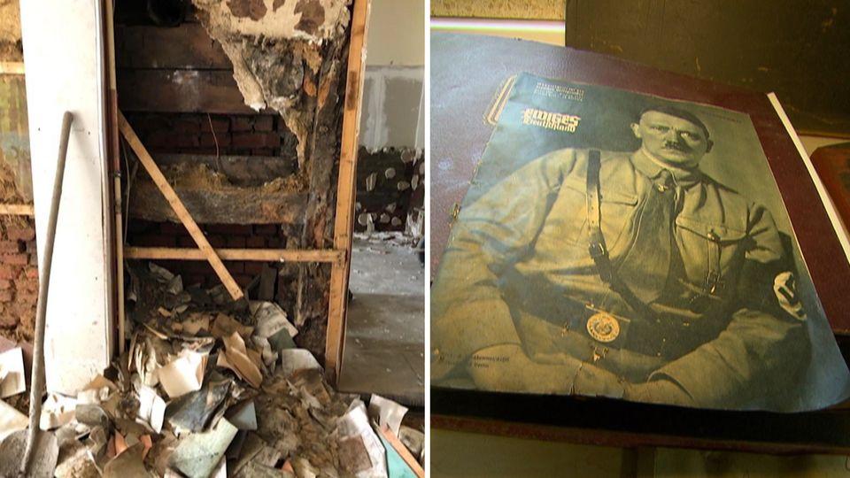 Auf dem Foto ist Schutt zu sehen und rechts ein Foto von Adolf Hitler