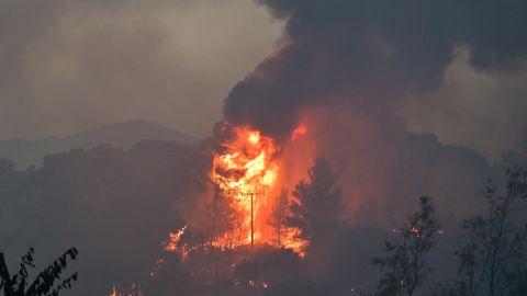 Großer Waldbrand nordöstlich von Athen