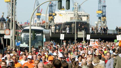 Teilnehmer am Hamburg-Marathon