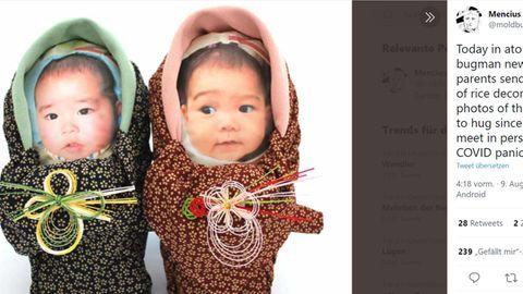 Frischgebackene Eltern aus Japan schicken Verwandten Resissäcke, die aussehen wie ihr Baby