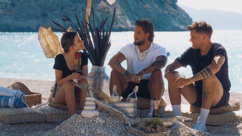 Bachelorette Maxime mit Zico und Dominik am Strand