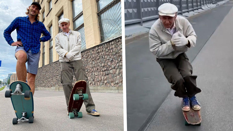 Virales Video: Lässig wie kein anderer 73-Jähriger: Russischer Skater-Opa wird zum Instagram-Star