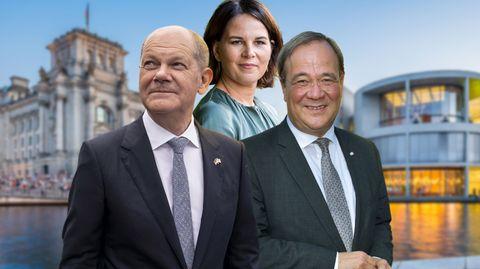 Olaf Scholz, Annalena Baerbock und Armin Laschet – die Kanzlerkandidaten im wöchentlichen Trend