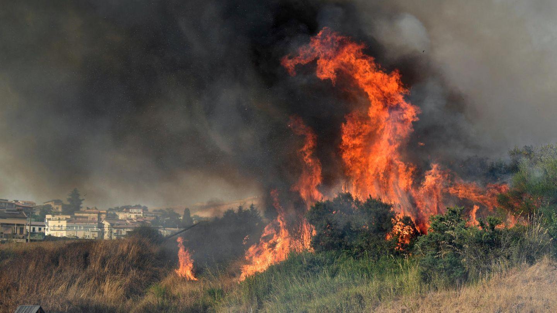 Ein Waldbrand in der Nähe von Palermo auf Sizilien