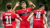 Die VfB-Spieler Klimowicz, Karazor und Al Ghaddioui