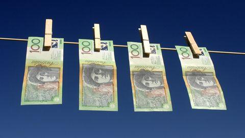 Australische Dollar auf einer Wäscheleine