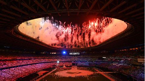 Japan, Tokio: Olympia: Abschlussfeier im Olympiastadion.