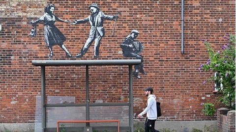 Das Kunstwerk von Banksy in der englischen StadtGreat Yarmouth