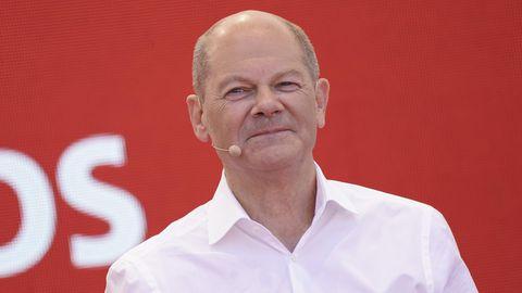SPD-Kanzlerkandidat Olaf Scholz bei einem Wahlkampfauftritt in Bochum