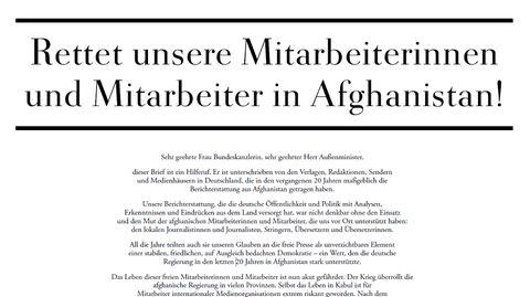 Petition Deutscher Medien: Rettet unsere Mitarbeiterinnen und Mitarbeiter.