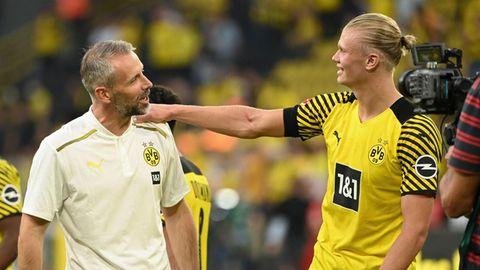 Zwei, die sich verstehen: Trainer Marco Rose (l.)und Erling Haaland