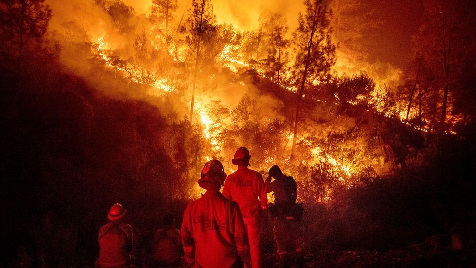 Feuerwehrleute kämpfen in Kalifornien gegen die Flammen