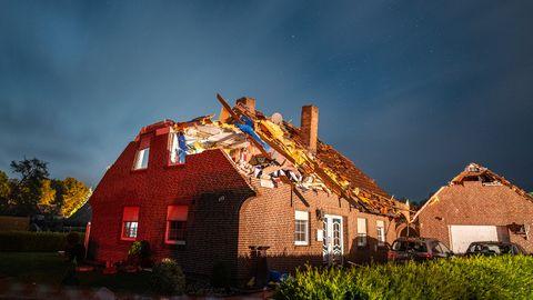 Ein vom Tornado zerstörtes Haus in Berumerfehn