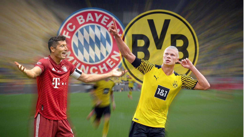 Bayern Stürmer Robert Lewandowski und Borussia Dortmund Stürmer Erwin Haarland.