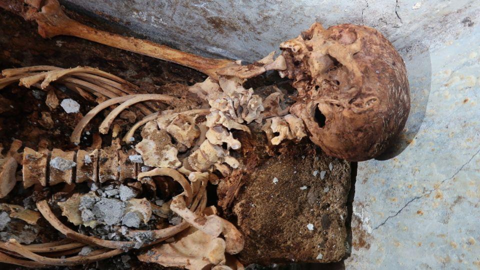 Mumifizierte Überreste von Marcus Venerius Secundio, einem früheren Sklaven, der nach seiner Freilassung zu Reichtum und damit zu gesellschaftlichem Rang gelangt war.