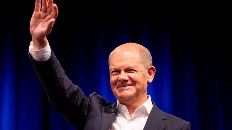 Olaf Scholz, SPD-Kanzlerkandidat und Bundesfinanzminister, bei einer Wahlkampfveranstaltung