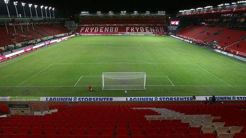 Das leere Stadion des norwegischen Erstligisten Brann Bergen.