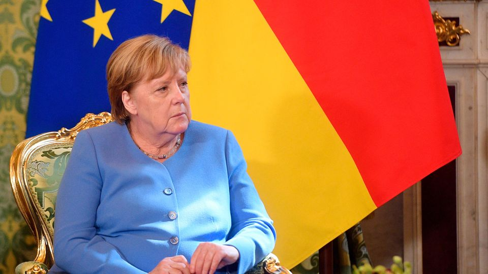 Bundeskanzlerin Angela Merkel (CDU) während eines gemeinsamen Treffens mit dem russischen Präsidenten Putin im Kreml