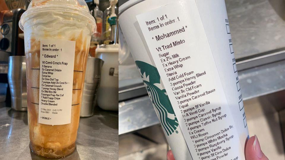 Lange Liste: die Starbucks-Sonderwünsche von Edward und Mohammed