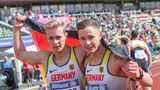 Johannes Floors (l.) und Felix Streng, Leichtathletik Sprint und Weitsprung. Behinderung:Amputation untere Extremität beidseitig und Fehlen des rechten Unterschenkels. Beide sind heiße Medaillenkandidaten im Sprint und im Weitsprung.
