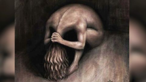 Was sehen Sie hier: Frau mit Kopf auf Knien oder einen Schädel?