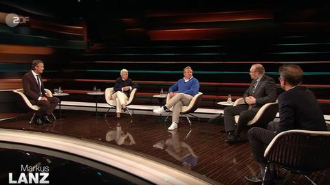 Markus Lanz mit seinen GästenMarie-Agnes Strack-Zimmermann,Tilman Kuban,Marcus Grotian undGerald Knaus