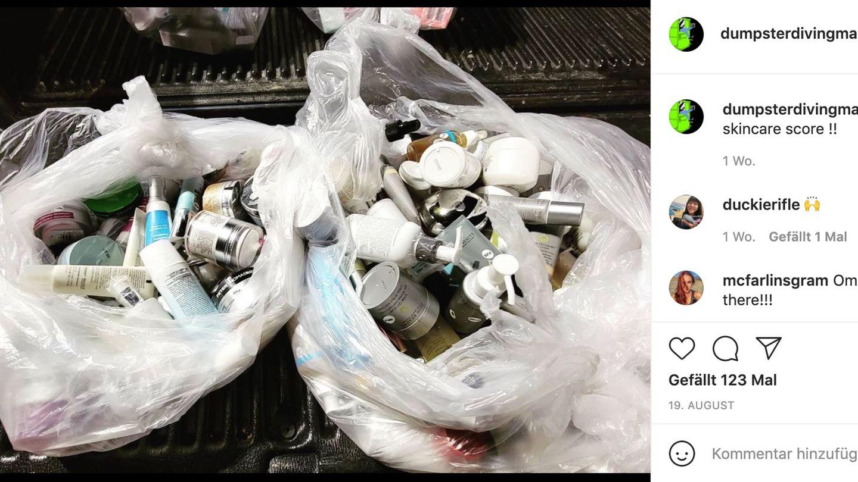 Kosmetikprodukte im Müll