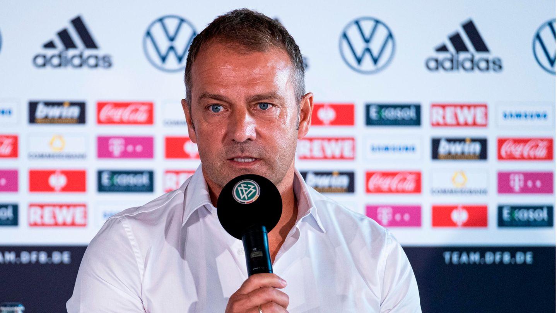 Fußball-Bundestrainer Hansi Flick während einer DFB-Pressekonferenz