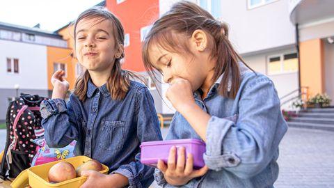Zwei Mädchen essen Obst aus ihren Brotdosen
