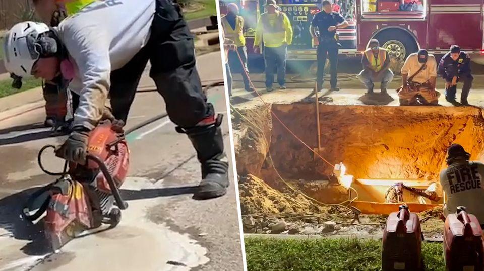Hund in Kanalisation gefangen: Feuerwehr gräbt ganze Straße auf