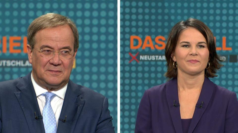 Laschet, Scholz und Baerbock beim Triell von RTL