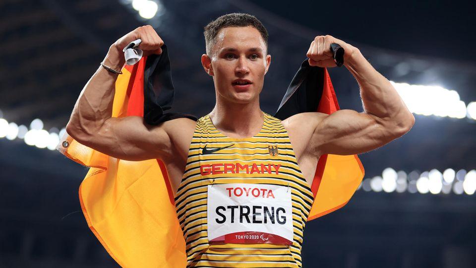Felix Streng, 26 Jahre alt, Gold im Prothesensprint über 100 Meter und Silber über 200 Meter (T64)