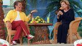 """Durch ihre Rolle im """"Traumschiff"""" war Heide Keller gefragter Gast für Talkshows und andere Sendungen. 2001 saß sie bei Michael Schanze im ZDF-""""Fernsehgarten""""."""