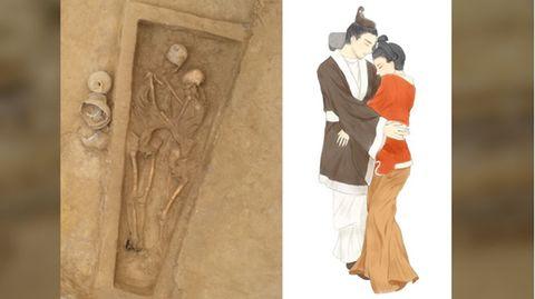 Das Grab und eine Illustration der innigen Pose.