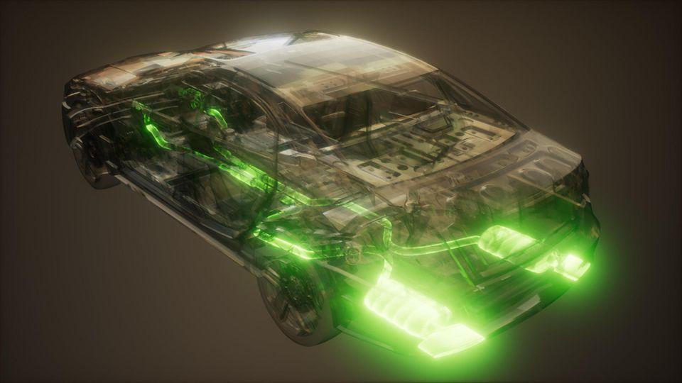 Schnittzeichnung der Abgasanlage eines Autos