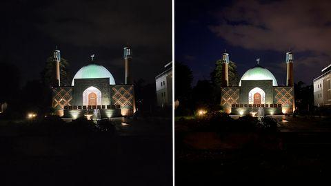 Bei schlechtem Licht trumpft die Hauptkamera dank 1,4µm Pixelgröße und einer F1,8-Blende auf. Im Vergleich zum iPhone 11 Pro Max (rechts) fängt sie etwa mehr Details im durch das grelle Licht schwer zu erfassenden Eingangsbereich auf. Allerdings sind die Farben leicht überbetont.
