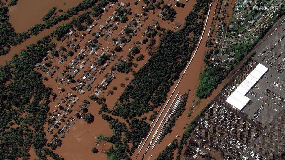"""Dieses Satellitenfoto zeigt das Ausmaß der Überschwemmungen inManville, New Jersey durch Hurrikan """"Ida"""""""