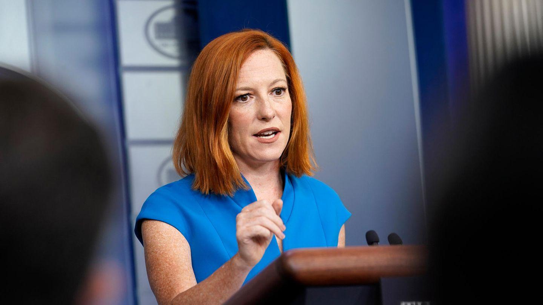 Jen Psaki, Pressesprecherin des Weißen Hauses, spricht während des täglichen Briefings im Weißen Haus