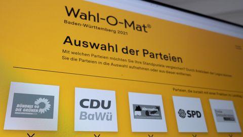 Ein Computerbildschirm zeigt den Der Wahl-O-Maten zur Bundestagswahl 2021