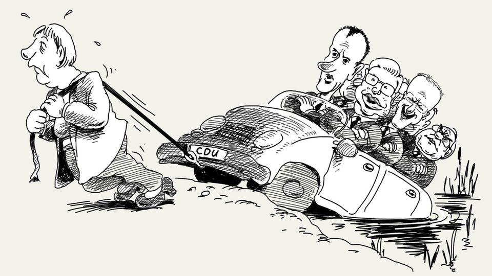 """In """"Mein Merkel-Bilderbuch""""blickt der Karikaturist auf 200 Seiten und in 800 Karikaturen zurück auf seine jahrzehntelange Beschäftigung mit der heutigen Bundeskanzlerin Angela Merkel. Die wurde nur wegen der Parteispendenaffäre 2000Parteivorsitzende der CDU. Dass die ostdeutsche Politikerin eine Ära prägen sollte, damit hatte damals niemand gerechnet. Die Kalkulation der CDU-Granden Friedrich Merz, Roland Koch und Co. war wohl eher: Männer haben den Karren in den Dreck gefahren, die Frau soll ihn nun herausziehen - ehe wir Männer wieder das Steuer übernehmen. Sie sollten sich alle täuschen."""