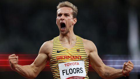 Überwältigt: Johannes Floors schreit seine Freude über die Goldmedaille heraus