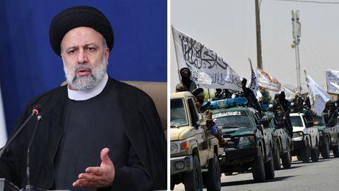 Irans Präsident Ebrahim Raisi (links) und ein Konvoi der Taliban in Kandahar