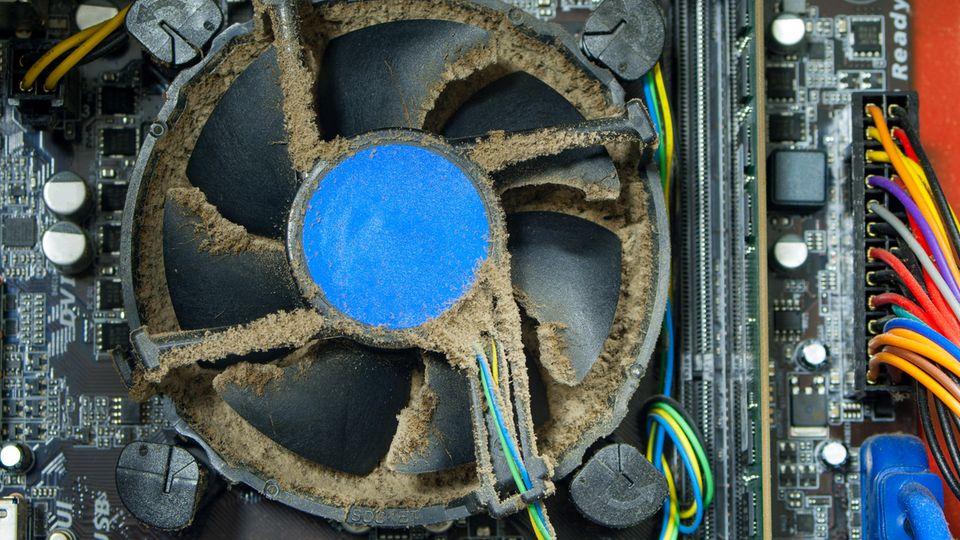 Da hilft nur ein Luftkompressor: Das Innenleben eines verdreckten Büro-Computers.