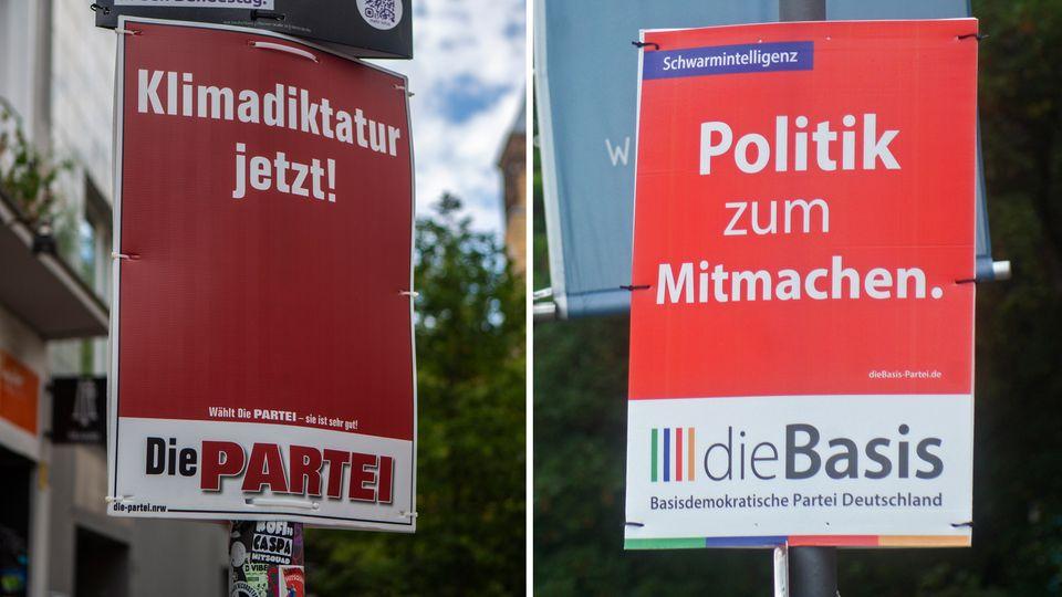 Werbeplakate der Parteien dieBasis und Die Partei