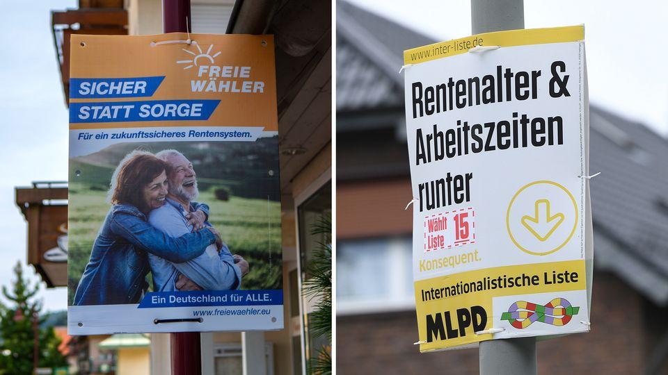 Werbeplakate der Parteien Freie Wähler und MLPD für die Bundestagswahl am 26. September