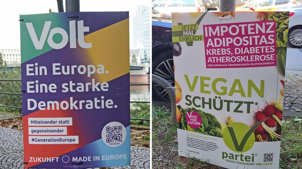 Werbeplakate der Parteien Volt undV-Partei³ für die Bundestagswahl am 26. September