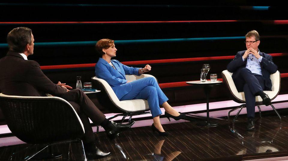 Hitzige Debatte: Markus Lanz, Katja Kipping, Ralf Stegner (v.l.r.)