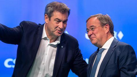 Markus Söder und Armin Laschet auf dem CSU-Parteitag in Nürnberg