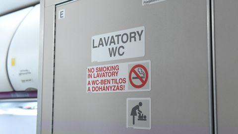 Die Tür zu einem WC in einem Airbus A320