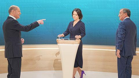 Für diese drei ging es beim zweiten TV-Triell um alles: Olaf Scholz (l.), Annalena Baerbock und Armin Laschet
